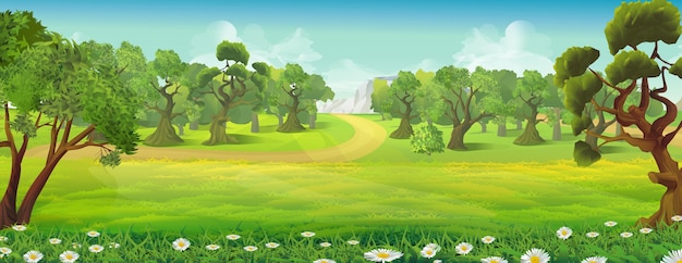 Meadow and forest nature landscape background