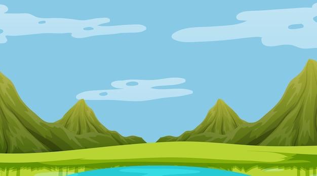 산 배경으로 초원 풍경