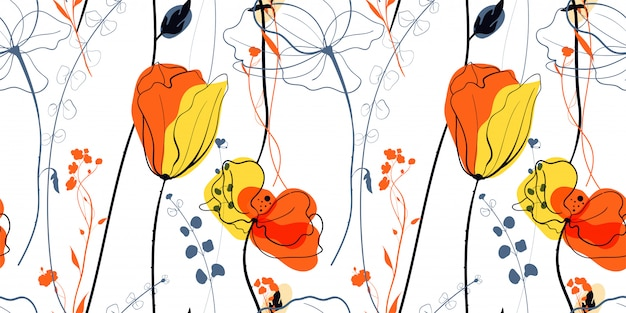 스칸디나비아 스타일의 초원 양귀비 꽃