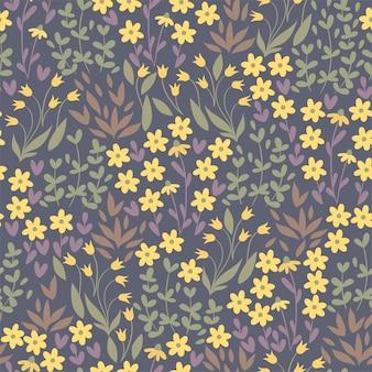 牧草地の黄色い花のシームレスなパターン。ベクトルグラフィックス。