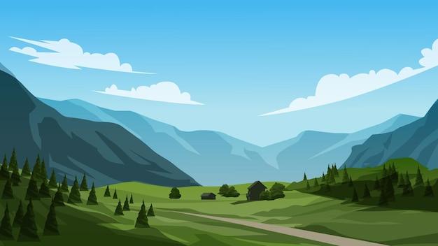 Пейзаж луга с горами и холмом