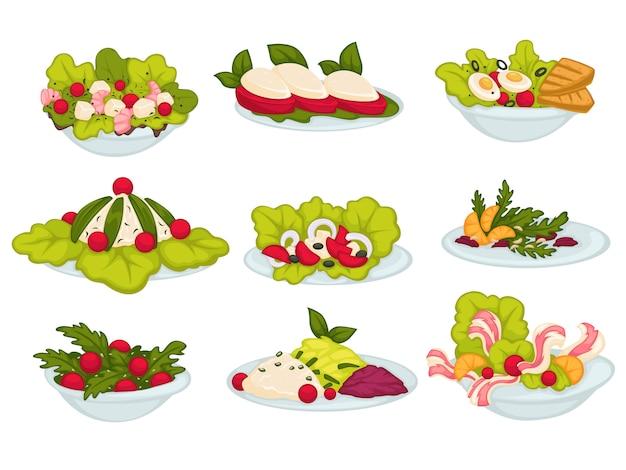 Коллекция блюд и закусок для еды и еды