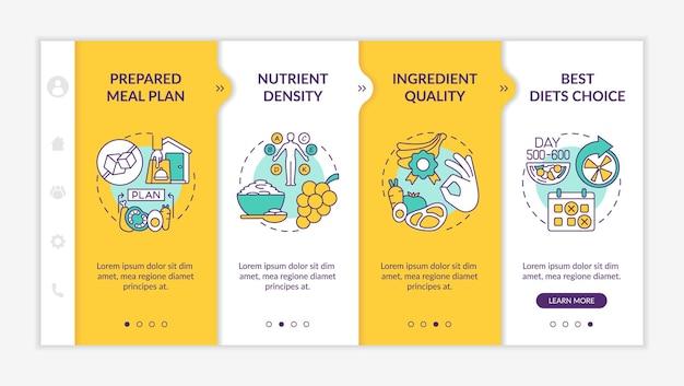 당뇨병 온보딩 벡터 템플릿을 위한 식사 배달. 아이콘이 있는 반응형 모바일 웹사이트입니다. 웹 페이지 연습 5단계 화면. 선형 삽화가 있는 준비된 식사 계획 색상 개념