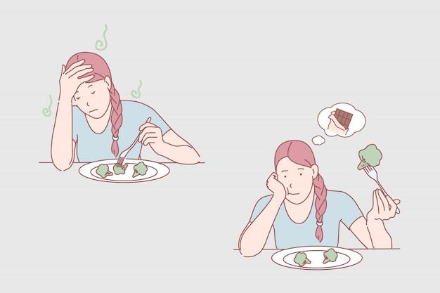 식사 불만족 일러스트