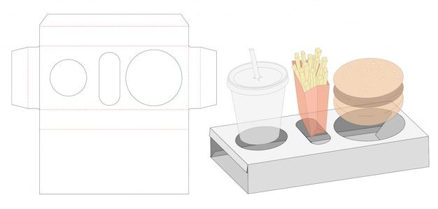 Meal packaging die cut template