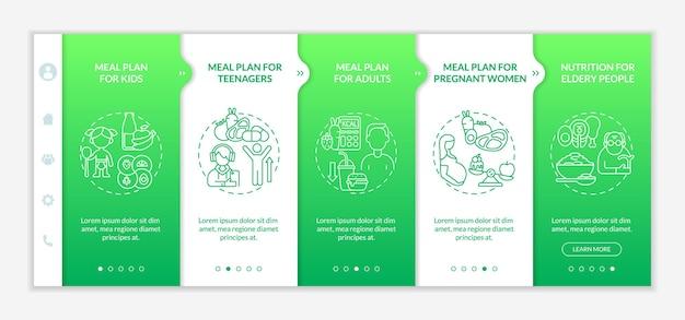 さまざまな年齢層の緑のオンボーディングベクトルテンプレートの食事プラン。アイコン付きのレスポンシブモバイルサイト。 webページのウォークスルー5ステップ画面。線形イラストと色の概念