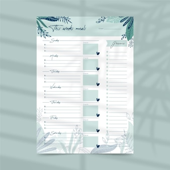 Meal planner template with leaves