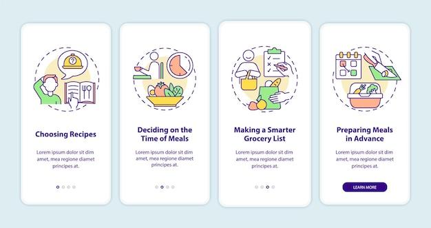 モバイルアプリのページ画面にオンボーディングする食事プランニングの基本。概念を備えた食事のウォークスルー4ステップのグラフィックの説明を準備します。線形カラーイラストとui、ux、guiベクトルテンプレート