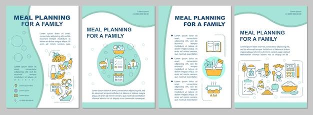 가족 파란색 브로셔 템플릿에 대한 식사 계획입니다. 전단지, 소책자, 전단지 인쇄, 선형 아이콘이 있는 표지 디자인. 프레젠테이션, 연례 보고서, 광고 페이지용 벡터 레이아웃