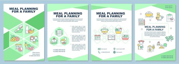 가족 브로셔 템플릿을 위한 식사 계획입니다. 어린이, 성인을 위한 다이어트. 전단지, 소책자, 전단지 인쇄, 선형 아이콘이 있는 표지 디자인. 프레젠테이션, 연례 보고서, 광고 페이지용 벡터 레이아웃