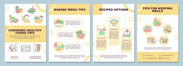 식사 계획 팁 브로셔 템플릿입니다. 메뉴 만들기. 전단지, 소책자, 전단지 인쇄, 선형 아이콘이 있는 표지 디자인. 프레젠테이션, 연례 보고서, 광고 페이지용 벡터 레이아웃