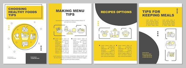 식사 계획 팁 노란색 브로셔 템플릿입니다. 메뉴 만들기. 전단지, 소책자, 전단지 인쇄, 선형 아이콘이 있는 표지 디자인. 프레젠테이션, 연례 보고서, 광고 페이지용 벡터 레이아웃