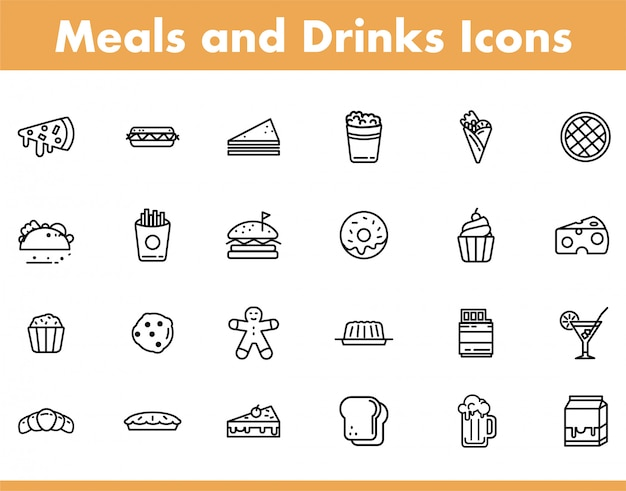 Meals and baverage icon in line style vector illustration