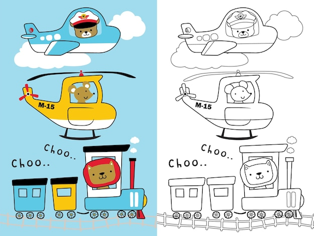 Means of transport collection with funny animals, coloring book or page for kids
