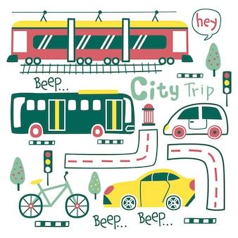 Means of transportation funny cartoon