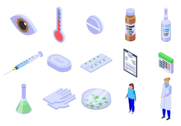 Measles icons set, isometric style