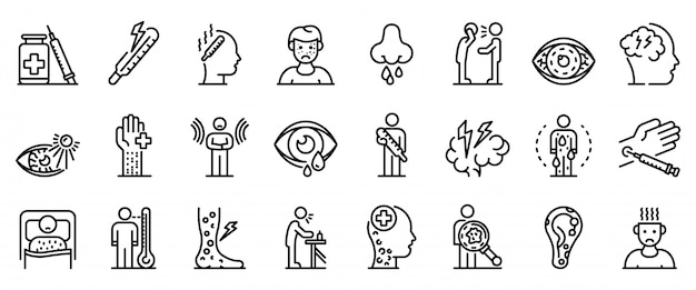 Measles icons set