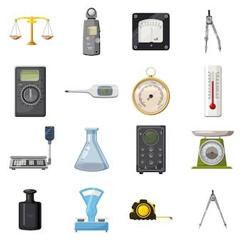 Measure precision tools icons set, cartoon style