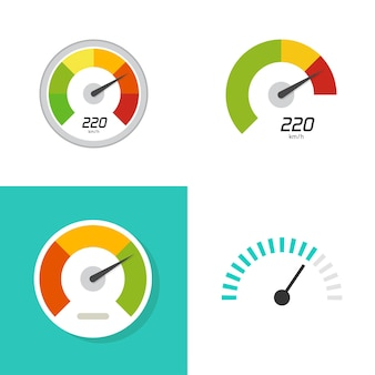 속도계 게이지 또는 속도계 표시기 성능 점수 다이얼 아이콘 벡터 평면 만화 측정