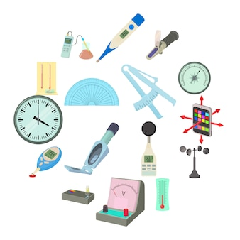 Measure tools icons set, cartoon style