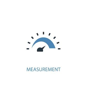 Концепция измерения 2 цветной значок. простой синий элемент иллюстрации. дизайн символа концепции измерения. может использоваться для веб- и мобильных ui / ux