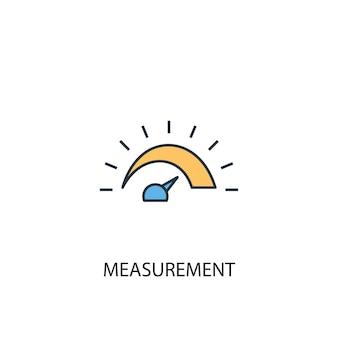 측정 개념 2 컬러 라인 아이콘입니다. 간단한 노란색과 파란색 요소 그림입니다. 측정 개념 개요 기호 디자인