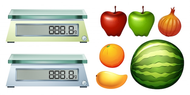 Measurement scales and fresh fruits illustration