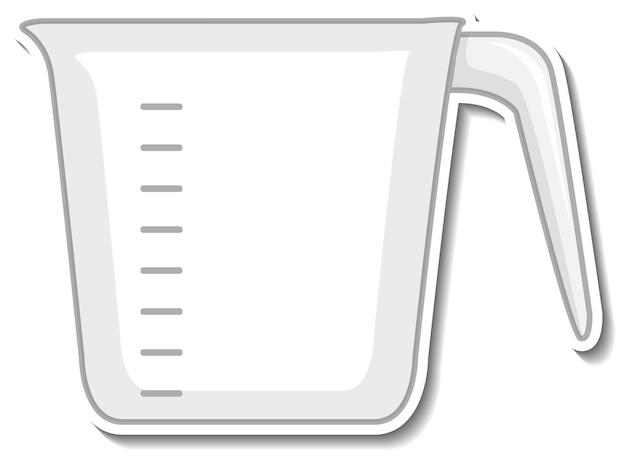 白い背景の上の計量カップのステッカー