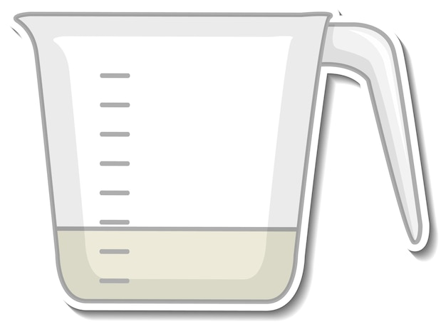 Measuring cup sticker on white background