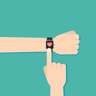 心拍数の測定、smar twatchアプリケーション。