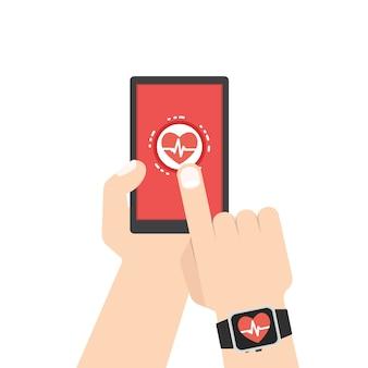 心拍数の測定、スマートフォン、smar twatchアプリケーション。