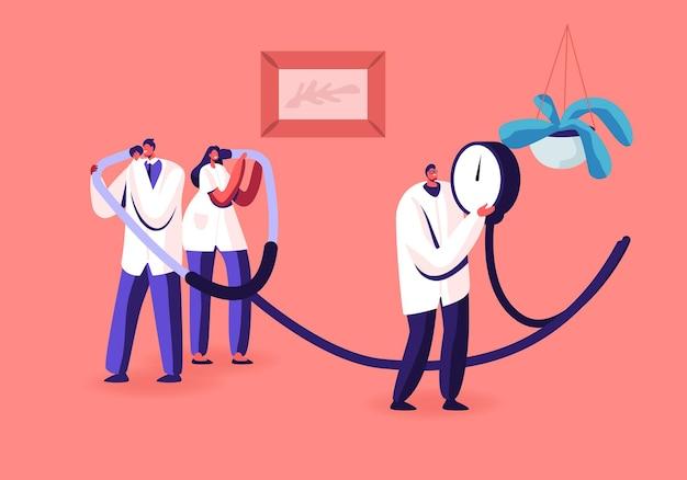 동맥 혈압 측정, 심장 질환 개념. 만화 평면 그림
