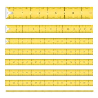 인치 및 미터 스케일이 설정된 측정 테이프