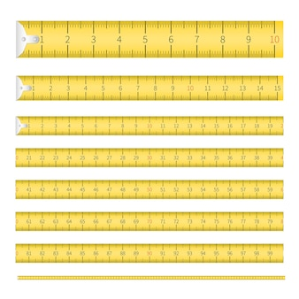 Measuring tape with inch and metric scales set