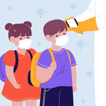 Measuring temperature in kindergarten, children standing in row, back to school concept, schooling after coronavirus pandemic