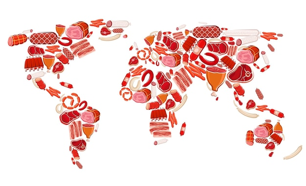 Meat, beef and pork sausages vector world map of meat food. raw chicken and turkey sausages, ham, bacon slices and salami, barbecue steaks, lamb legs and bbq ribs, prosciutto and jamon delicatessen