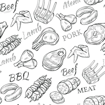 Meat black white sketch seamless pattern with beef and pork
