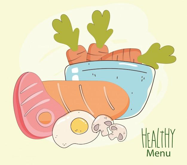 Мясной хлеб, яйцо и миска с морковью, свежий рынок, органическая здоровая пища с фруктами и овощами