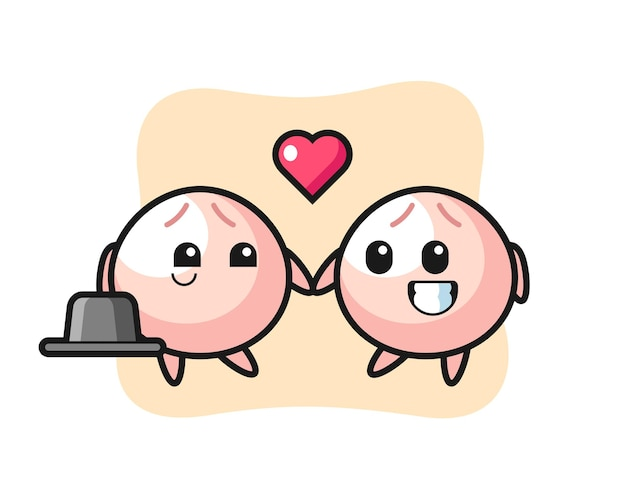 Мясная булочка мультипликационный персонаж пара с жестом влюбленности, милый стиль дизайна для футболки, наклейки, элемента логотипа