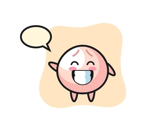 Meat bun cartoon character doing wave hand gesture, cute style design for t shirt, sticker, logo element