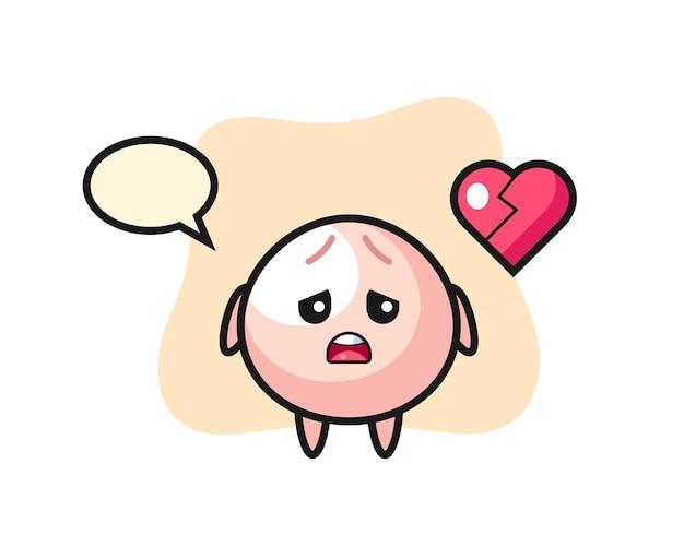 Иллюстрация шаржа мясной булочки - разбитое сердце, милый стиль дизайна для футболки, наклейки, элемента логотипа
