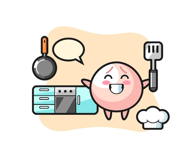 Meat bun character illustration as a chef is cooking, cute style design for t shirt, sticker, logo element