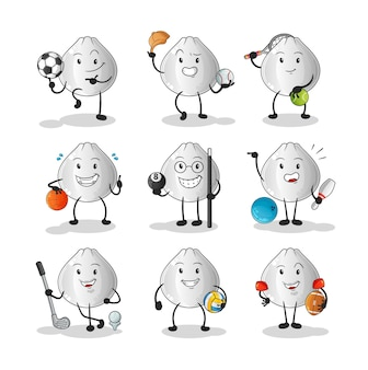 Мясная булочка спортивный набор символов. мультфильм талисман