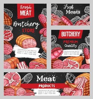 고기, 정육점 스케치 쇠고기, 돼지 고기 및 양고기 음식, 칠판.