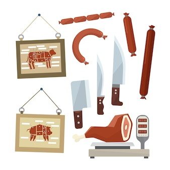 Meat and butchers flat set