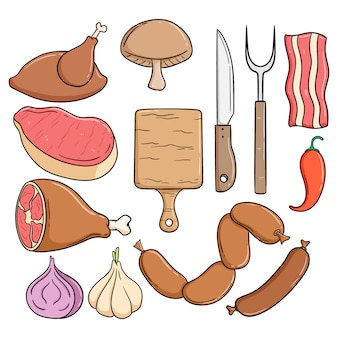 Meat collection for steak with doodle style