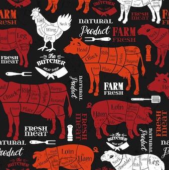 肉切り。精肉店の図。動物のシルエット。ベクトルイラスト。シームレスなパターン。
