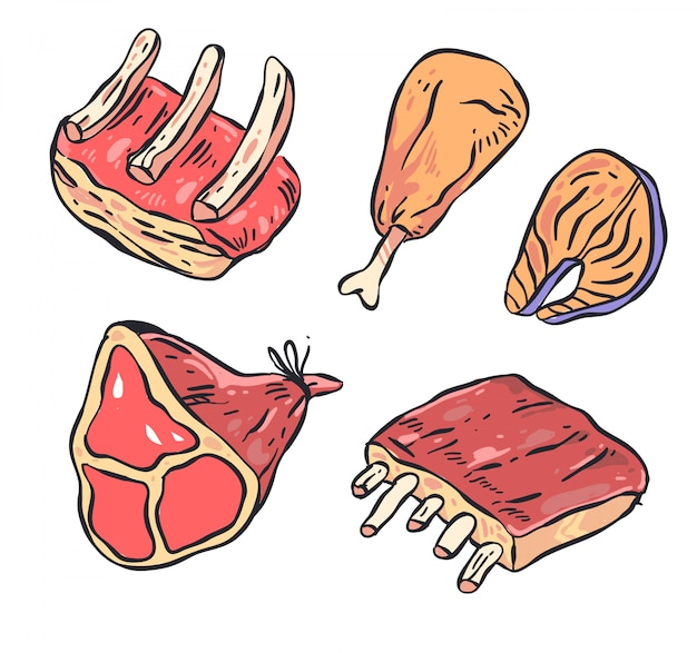 Meat doodle illutration set
