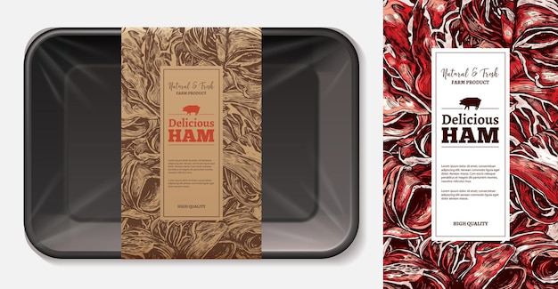 공예 종이 태그 템플릿이있는 3d 현실적인 거품 트레이가있는 고기 식품 라벨 레이아웃