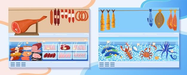 Иллюстрация стойла рынка мясных продуктов. задний план